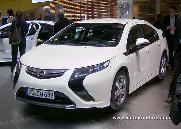 The Opel Ampera plug-in hybrid at the Geneva motorshow