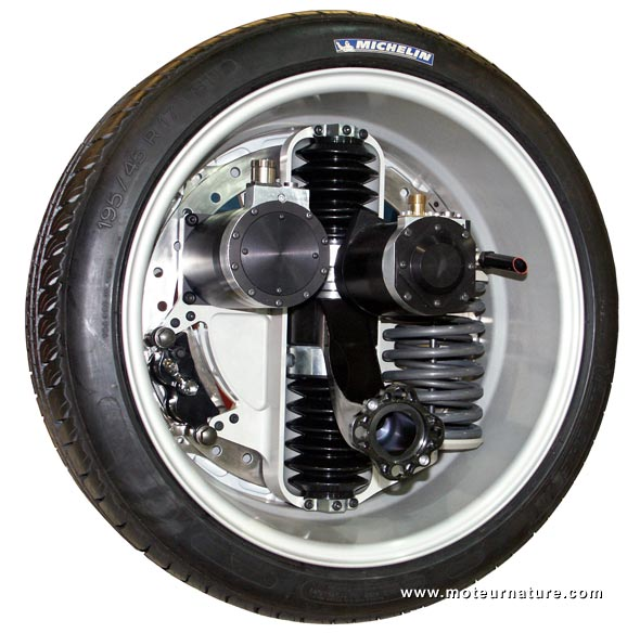 In-wheel motor and suspension