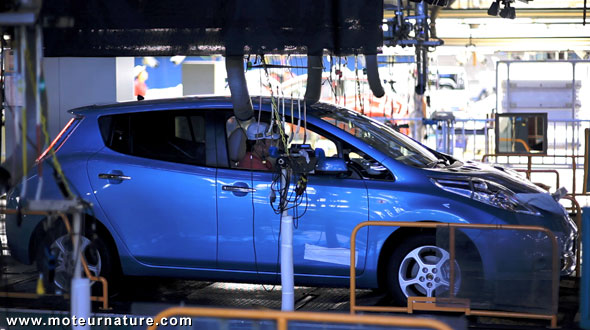 Nissan Leaf at the factory in Oppama