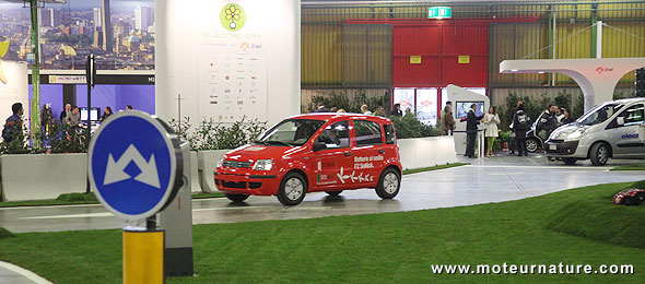 An electric Fiat Panda at the Bologna motor show
