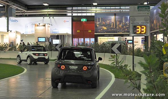 2 Tazzari Zero electric cars at the Bologna motor show