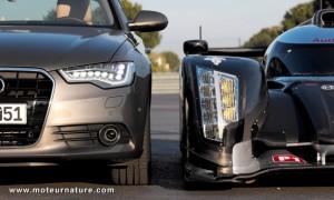 Audi R18 TDI and Audi A6 sedan