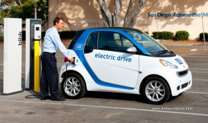 An electric smart from car2go in San Diego