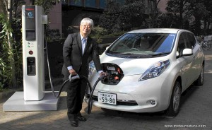 A Nissan Leaf charging in Japan