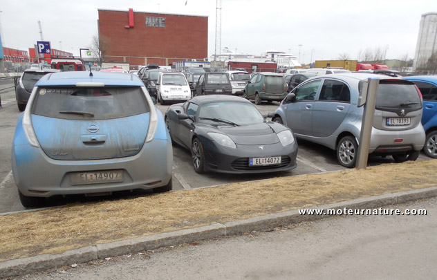 Electric cars parked