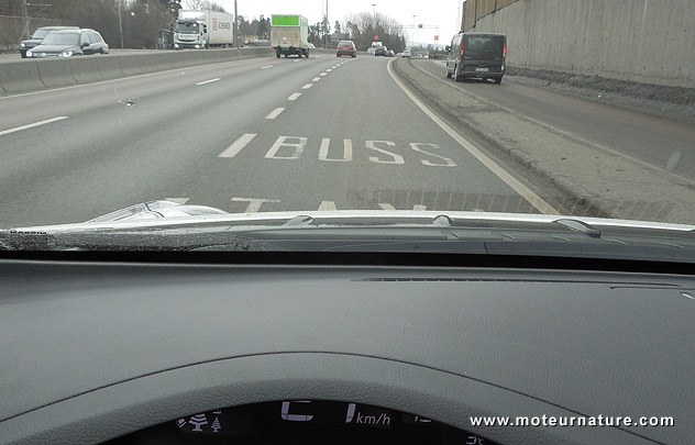 Driving in the bus lanes