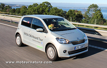 Skoda Citigo CNG on a record drive