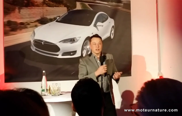 Elon Musk, CEO of Tesla Motors, talking in Munich