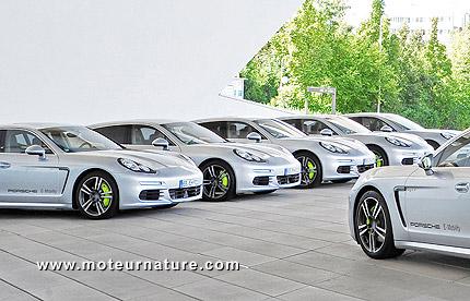 Fleet of Porsche Panamera S-E Hybrid in Stuttgart