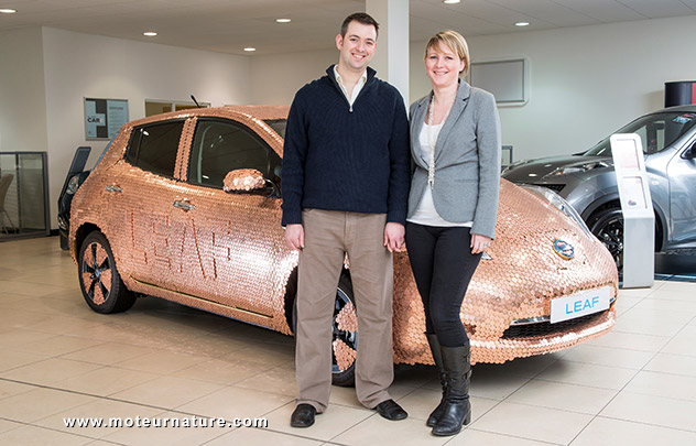 Nissan Leaf covered with pennies