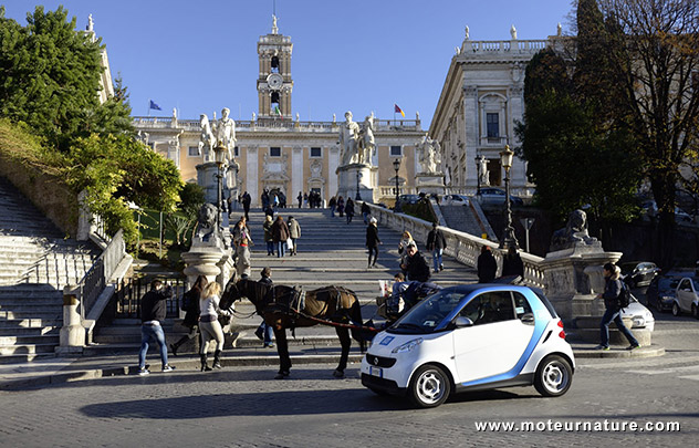 Smart car from car2go sharing service in Roma